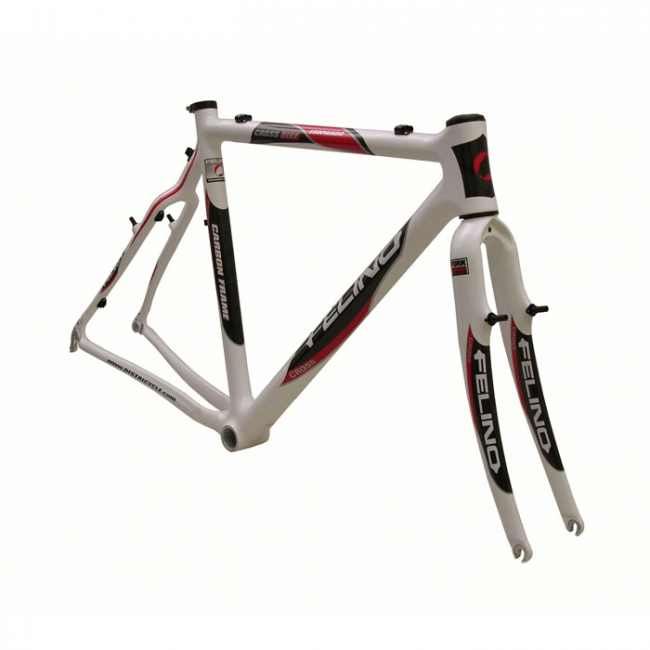 cadre cyclo cross carbone felino leopardo blanc carbon direction fourche carbone
